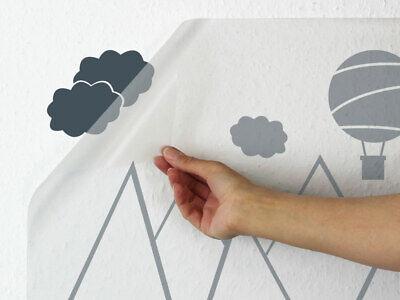 Wandtattoo Kinderzimmer Berge Wolken Wandaufkleber Kinder Heissluftballon Baby Eur 16 95 Picclick De