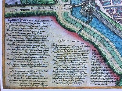 Old Antique Historic Map Antwerp, Belgium 1598 Braun & Hogenberg REPRINT 1500's 2