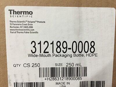 NEW (6) Nalgene Packaging Bottles, 250ml 8oz, Wide Mouth, HDPE 4