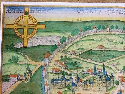 Old Historic Antique Map Visby, Sweden: 1598 by Braun & Hogenberg REPRINT 1500's 5
