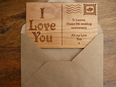 Personalised Wooden Postcard Greeting Card Wedding Anniversary
