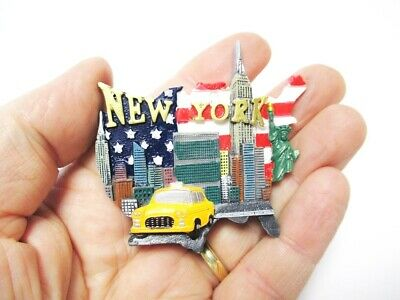 220 New York Poly Magnet Skyline Manhattan mit Taxi Souvenir