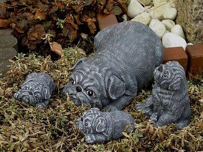 Steinfigur Tierfigur Hund mini anthrazit Deko Garten