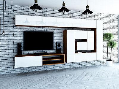 Designer wohnwand weiß hochglanz  DESIGNER HOCHGLANZ WOHNWAND Anbauwand BOX-Plan 2 in rot, schwarz ...