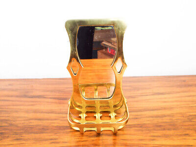 Vintage Arts & Crafts Style Mott Antique Wall Mount Soap Dish and Mirror Gold 3