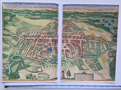 Old Antique Historic Map Odense, Denmark: 1598 Braun & Hogenberg REPRINT 1500's 4