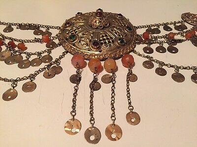 Antique Greek Gilded Belt W. Pendant Ahati Stones - Over 100 Years Old! 4