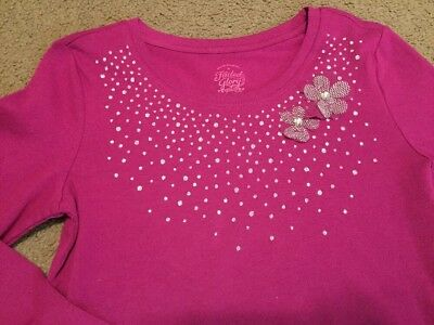 Girls Long Sleeve Shirt, Burgundy W/ Silver Glitter Design,  Faded Glory Med 7/8