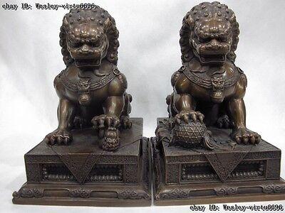 Red bronze copper Palace Feng Shui Door Guardian Evil Fu foo dog lion Pair 25cm