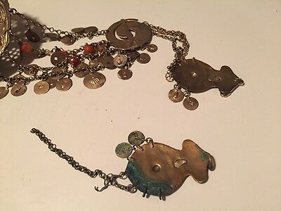Antique Greek Gilded Belt W. Pendant Ahati Stones - Over 100 Years Old! 11