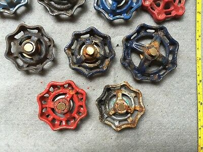 Lot Of 9 Vintage Heavy Metal Water Faucet Handles Knobs Valves Steampunk Lot#13 8