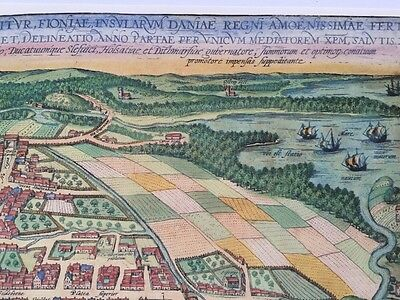Old Antique Historic Map Odense, Denmark: 1598 Braun & Hogenberg REPRINT 1500's 10