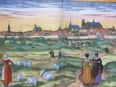 Old Antique Map Orleans, Bourges, France: 1575 Braun & Hogenberg REPRINT 1500's 5
