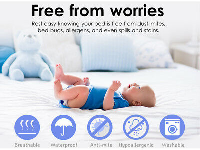 Fully Fitted Waterproof Cotton Mattress Protector All Sizes Pillow Cover 11