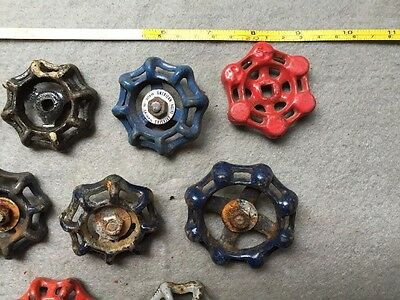 Lot Of 9 Vintage Heavy Metal Water Faucet Handles Knobs Valves Steampunk Lot#13 3