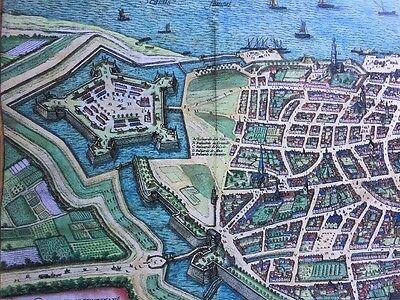 Old Antique Historic Map Antwerp, Belgium 1598 Braun & Hogenberg REPRINT 1500's 3