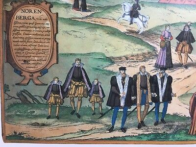 Old Historic Antique Map Nuremberg, Germany 1575 Braun & Hogenberg REPRINT 1500s 5