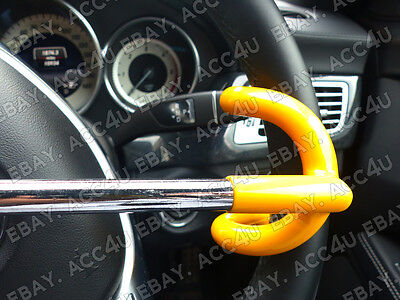 For Mercedes Benz Car Double Claw Anti Theft Security Yellow Steering Wheel Lock 9