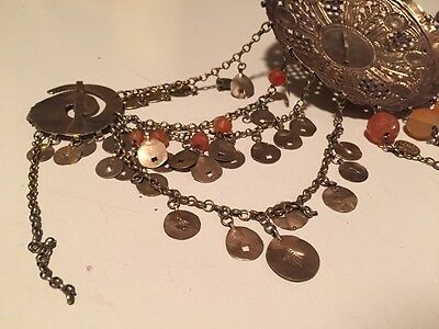 Antique Greek Gilded Belt W. Pendant Ahati Stones - Over 100 Years Old! 7