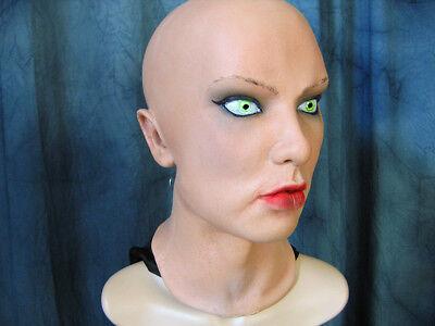 Latexmaske SCARLETT +WIMPERN Real. Frauenmaske Gummimaske Frau Zofe Trans TGirl