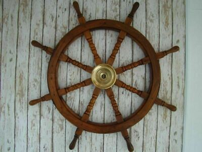 "36"" Wooden Ship Steering Wheel Brass Ring Vintage Wall Decor Nautical Antique 2"