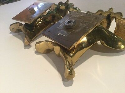 Pair of Antique Solid Brass Architectural Building Fragments 9