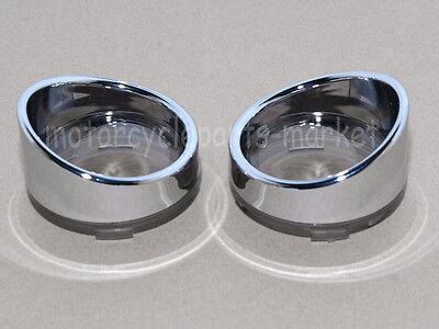 1Pair Metal Trim Ring Smoked Turn Signal Lens Visor x2 For Harley Dyna