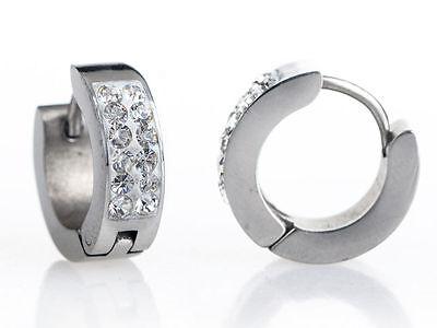 Men S Boy Neymar 18ct White Gold Plate Crystal Diamond Effect Huggie Earrings