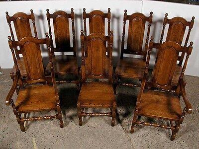 Set 8 English Elizabethan Tudor Oak Dining Chairs Chair 2