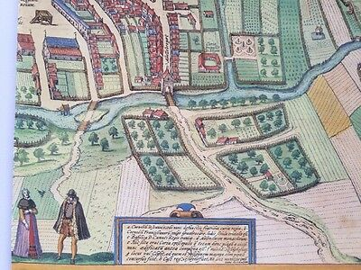 Old Antique Historic Map Odense, Denmark: 1598 Braun & Hogenberg REPRINT 1500's 8