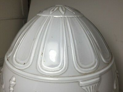 Excellent Vintage White Frosted Ceiling Light Fixture Shade Home Decor 6