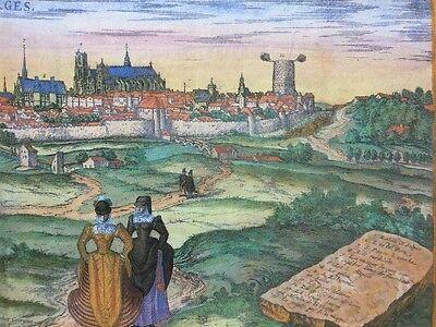 Old Antique Map Orleans, Bourges, France: 1575 Braun & Hogenberg REPRINT 1500's 6