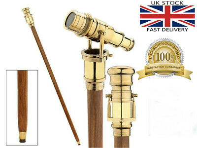 Wooden Walking Stick Brass Telescope Handle Foldable Cane Dismantle In To Three 2