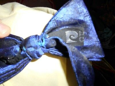Vintage Blue Adjustable Pierre Cardin Polyester Bow Tie Steampunk Prom Formal