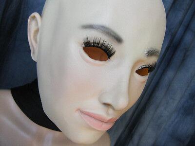 Gummimaske LILLY v3 +WIMPERN - Weibliche Frauenmaske Latex Crossdresser Gesicht 2