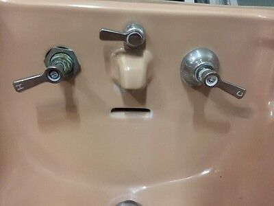 Old Antique Vintage Faucet Peach Colored Wall Mount Sink 1932 5