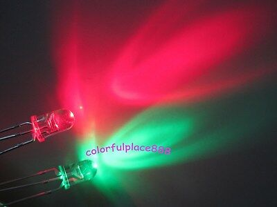 50pcs 3mm Dual Bi-Color Red//Green 3-Pin Led Common Anode Water Clear Leds Light