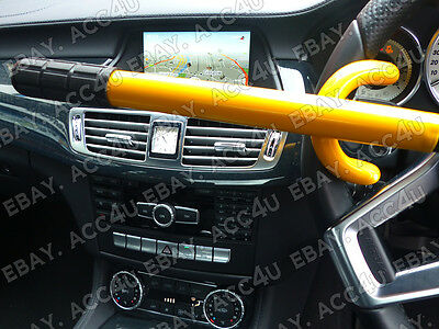 For Mercedes Benz Car Double Claw Anti Theft Security Yellow Steering Wheel Lock 5