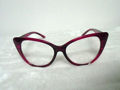 Lunettes papillon fantaisie verres transparents rose violet rayures pinup retro 5
