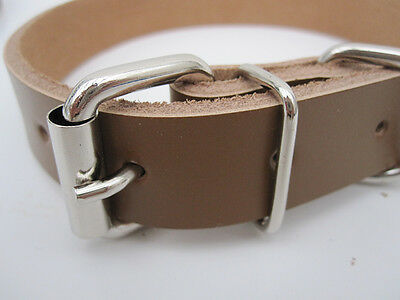 Strong Real Leather Dog collar | Pet Cat Puppy | Tan Black Pink Red | Four Sizes 3