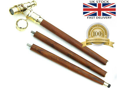 Wooden Walking Stick Brass Telescope Handle Foldebel Cane Dismantle In To Four 3