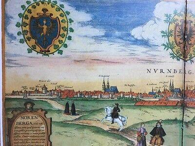 Old Historic Antique Map Nuremberg, Germany 1575 Braun & Hogenberg REPRINT 1500s 6