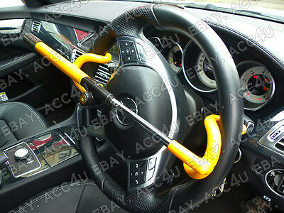 For Mercedes Benz Car Double Claw Anti Theft Security Yellow Steering Wheel Lock 6