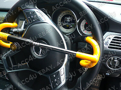 For Mercedes Benz Car Double Claw Anti Theft Security Yellow Steering Wheel Lock 3