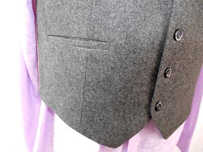 Vintage 1960s 70's Grey Wool Button Up Waistcoat Formal Mod Steampunk 40 Chest 2