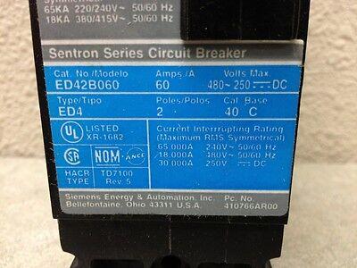 SIEMENS SENTRON 60 AMP CIRCUIT BREAKER ED42B060  2 POLE 240 VAC