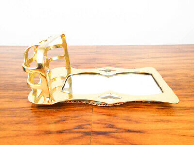 Vintage Arts & Crafts Style Mott Antique Wall Mount Soap Dish and Mirror Gold 4