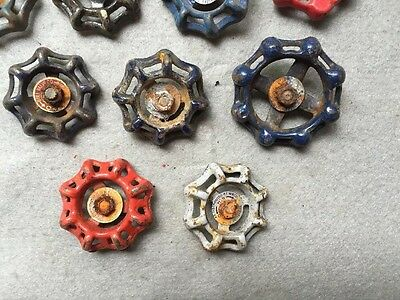 Lot Of 9 Vintage Heavy Metal Water Faucet Handles Knobs Valves Steampunk Lot#13 4