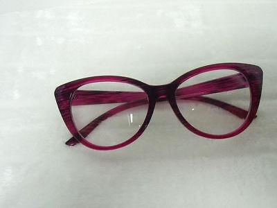 Lunettes papillon fantaisie verres transparents rose violet rayures pinup retro 6
