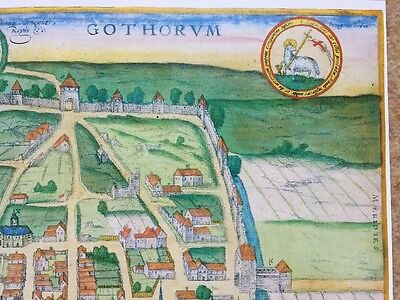 Old Historic Antique Map Visby, Sweden: 1598 by Braun & Hogenberg REPRINT 1500's 6
